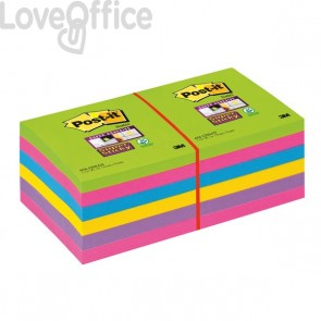 Post-it® Super Sticky Ultracolor -76x76mm-turchese,malva,girasole,fucsia,lime- 654-12SSUC (conf.12)