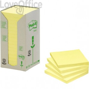 Post-it® Notes in carta riciclata - giallo - 76x76 mm - 654-1T (conf.16)