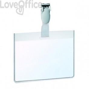 Portabadge in PVC con clip in plastica Durable - 6x9 cm - con tasca aperta - 8147-19 (conf.25)