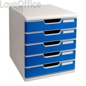 Cassettiera Modulo A4 Exacompta - grigio chiaro/blu - 5 cassetti - 301003D