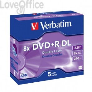 DVD Verbatim - DVD+R - 8,5 Gb - 8x - DL - Jewel case - 43541 (conf.5)