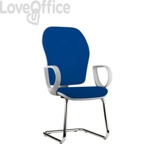 sedia blu per ufficio con gambe a slitta in polipropilene