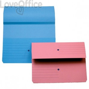 Cartelline canguro - 4company - woodstock -  225 g/mq - 32,5x25,5 cm - blu (conf.10)