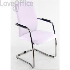sedia da ufficio in similpelle bianca operativa
