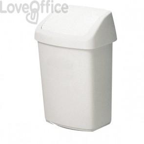 Cestino con coperchio basculante Rubbermaid - 24,6x19,8x37,7 cm- 10 l - bianco - 03984-026- R000869