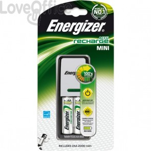 Caricabatterie ENERGIZER Mini Charger 2000mAh incluse 2 batterie Power Plus AA - E300701301