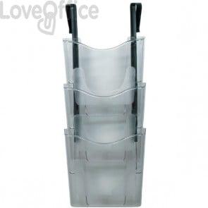 Vaschette portadocumenti da parete 3 livelli Deflecto - A4 verticale - 27x9,8x65,5 cm