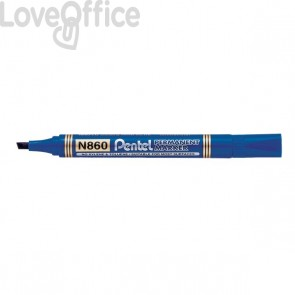 Pentel N860 Pennarelli indelebili blu - linea Amiko - scalpello - 1,2-4,5 mm (conf.12)