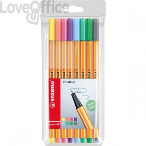 Fineliner point 88® Stabilo - 0,4 mm - assortiti pastell (conf.8)