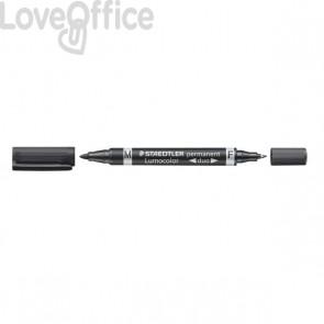 Pennarello doppia punta indelebile nero Staedtler Lumocolor® permanent duo - 0,6-1,5 mm