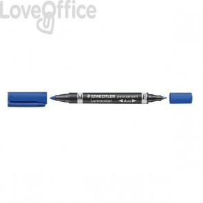 Pennarello doppia punta indelebile blu Staedtler Lumocolor® permanent duo - 0,6-1,5 mm