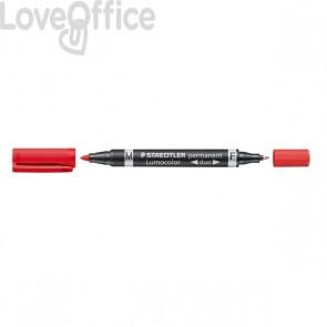 Pennarello doppia punta indelebile rosso Staedtler Lumocolor® permanent duo - 0,6-1,5 mm