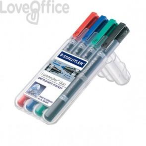 Pennarelli doppia punta indelebili Staedtler Lumocolor® permanent duo - 0,6-1,5 mm - assortito (conf.4)