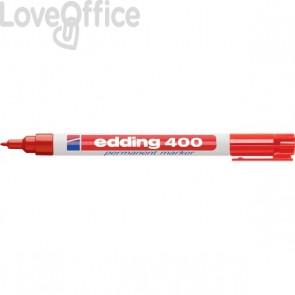 Pennarello indelebile rosso Edding 400 - 1 mm
