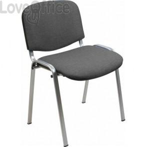 sedia attesa ignifuga di colore grigio con gambe grigie