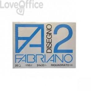 Album da disegno Fabriano F2 - Liscio riquadrato - 24x33 cm - 4 angoli - 110 g/mq - 20 fogli