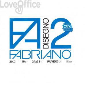 Album disegno Fabriano F2 - Ruvido - 24x33 cm - a 4 angoli - 110 g/mq - 20 fogli - Bianco