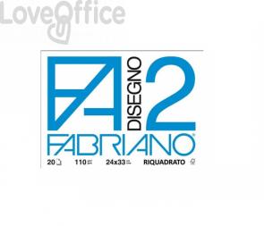 Album da disegno Fabriano F2 - Liscio riquadrato - a punti metallici 110 g/m² 20 24x33 cm