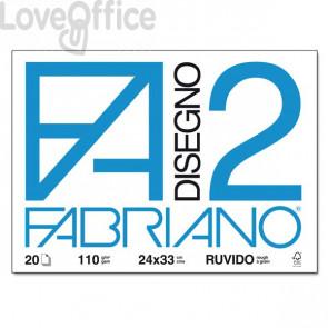 Album da disegno Fabriano F2 - Ruvido - 24x33 cm - a punti metallici - 110 g/mq - 20 fogli
