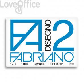 Album da disegno Fabriano F2 - Liscio - 33x48 cm - collato - 110 g/mq - 12 fogli