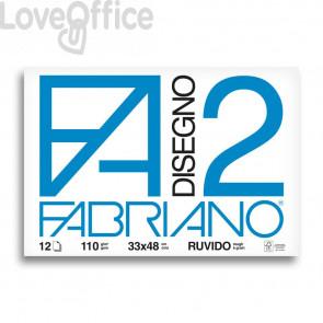 Album da disegno Fabriano F2 - Ruvido - 33x48 cm - collato - 110 g/mq - 12 fogli
