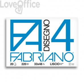 Album disegno Fabriano F4 - Liscio - 33x48 cm - 220 g/mq - 20 fogli