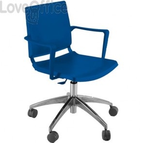sedia attesa blu girevole