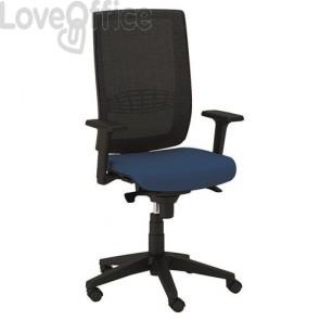 sedia girevole da ufficio di colore blu in fili di luce