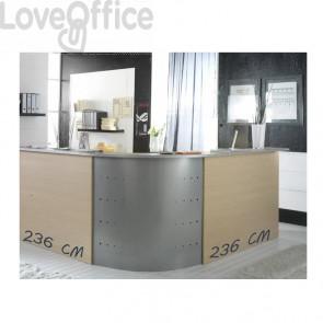 Bancone reception Alessandria Unisit - Acero - 236x236 cm