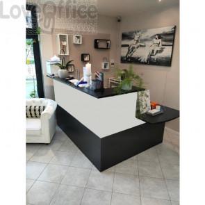 Bancone Reception angolare Musa con banco portatori disabilità - Nero venato - 196x156 cm