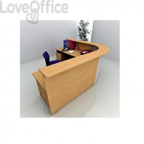 Bancone reception angolare Presto Artexport - Noce chiaro - 256x176 cm