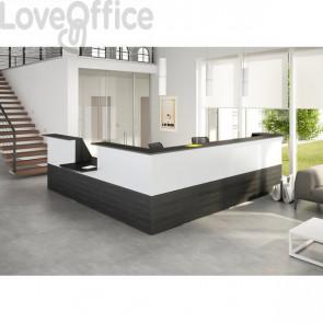 Bancone reception lineare Musa Artexport - Nero venato - 392x356 cm