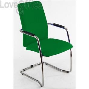 sedia da ufficio verde in polipropilene operativa