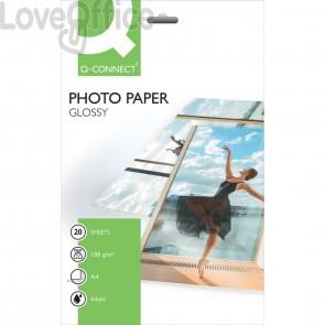 Carta fotografica Inkjet Q-Connect A4 bianco 180 g/m² lucida - 180 g/m2 (conf.20)