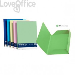 Cartelline in cartoncino 3 lembi Luce&Acqua Favini - 24,5x34,5 cm - Verde chiaro (conf.25)