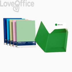 Cartelline in cartoncino 3 lembi Luce&Acqua Favini - 24,5x34,5 cm - Verde (conf.25)