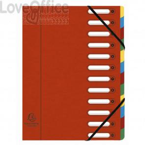 Classificatore Harmonika® Exacompta 12 divisori - 24x32 cm rosso