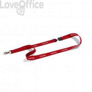 Cordoncino portabadge VISITOR DURABLE - Cordoncini VISITOR in tessuto rosso 20mmx44cm (conf.10)