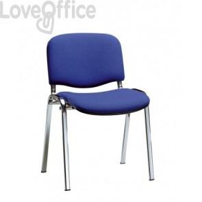 sedia attesa ignifuga di colore blu con gambe cromate