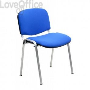 sedia attesa in polipropilene di colore blu con gambe grigie
