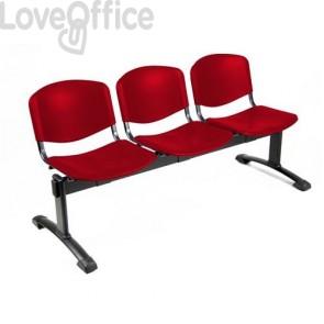 panca 3 posti da attesa in plastica di colore rosso