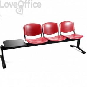 panca rossa con tavolo  da attesa di unisit