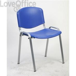 sedia da attesa in plastica blu modello Agata
