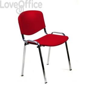 sedia da attesa in plastica rossa modello Agata