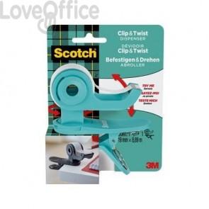 Dispenser per nastri adesivi Scotch ® Clip&Twist menta + 1 rotolo Scotch® Magic™ - TBC5