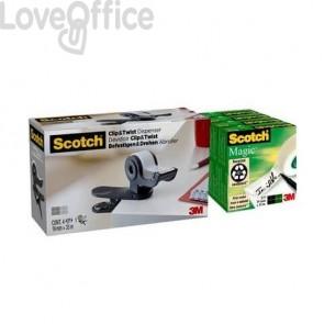Dispenser per nastri adesivi Scotch ® Clip&Twist nero + 4 rotoli Scotch® Magic™ - TBC6