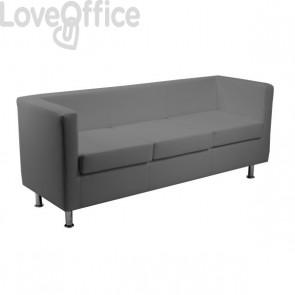 Divanetto attesa - divano 3 posti in similpelle - PRAGMA UNISIT - GRIGIO - PR3/KG
