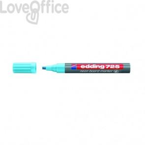 Pennarello per lavagna neon blu - Edding 725 fluo - scalpello - 2-5 mm