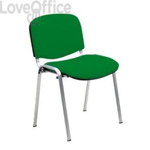 sedia attesa in polipropilene di colore verde con gambe cromate
