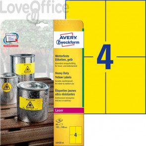 Etichette in poliestere AVERY giallo 105x148mm 20 fogli - L6132-20 (80 etichette)